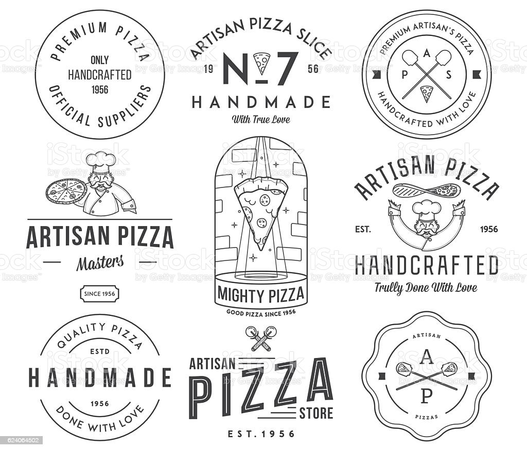 Premium quality artisan handmade pizza vector art illustration