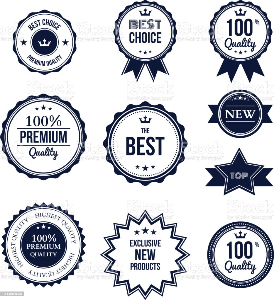 Premium quality best choice labels set isolated vector art illustration