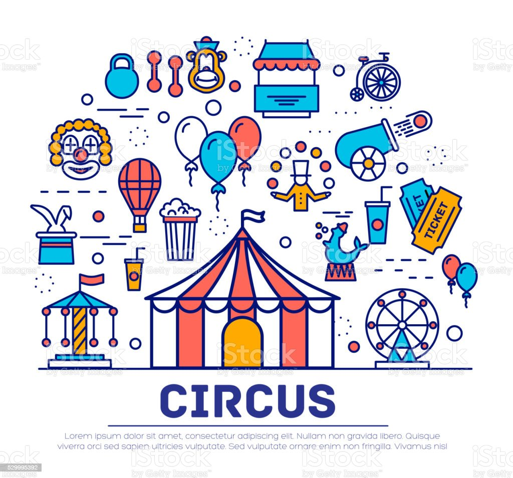 Premium quality circus outline icons flat collection set vector art illustration