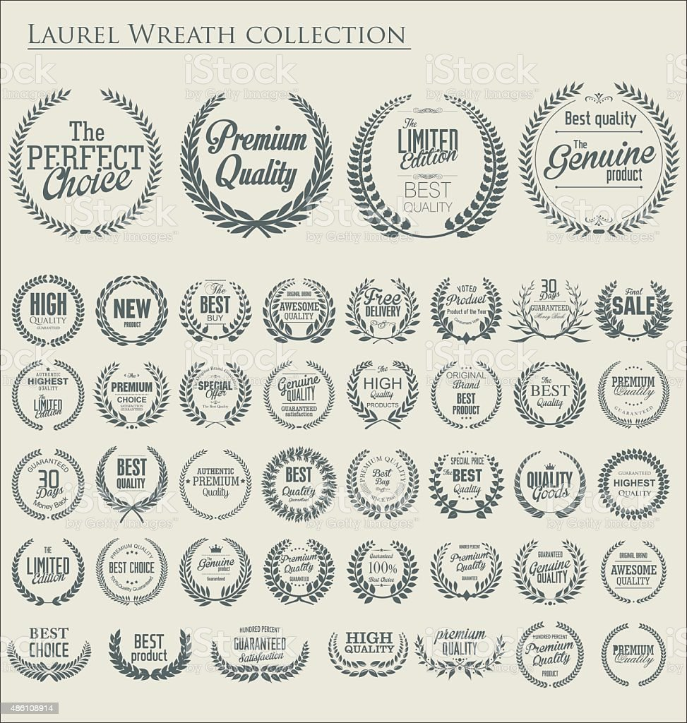 Premium quality laurel wreath, set vector art illustration