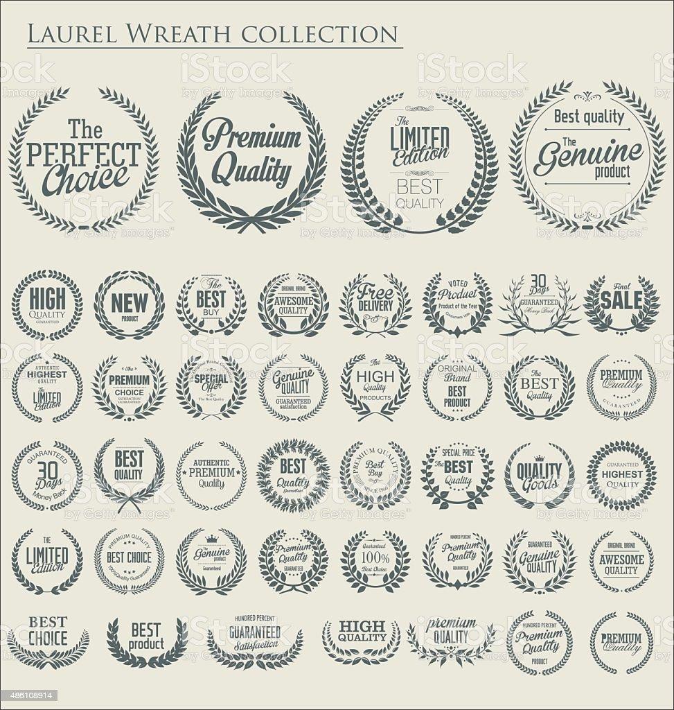 Premium quality laurel wreath, set vector art illustration
