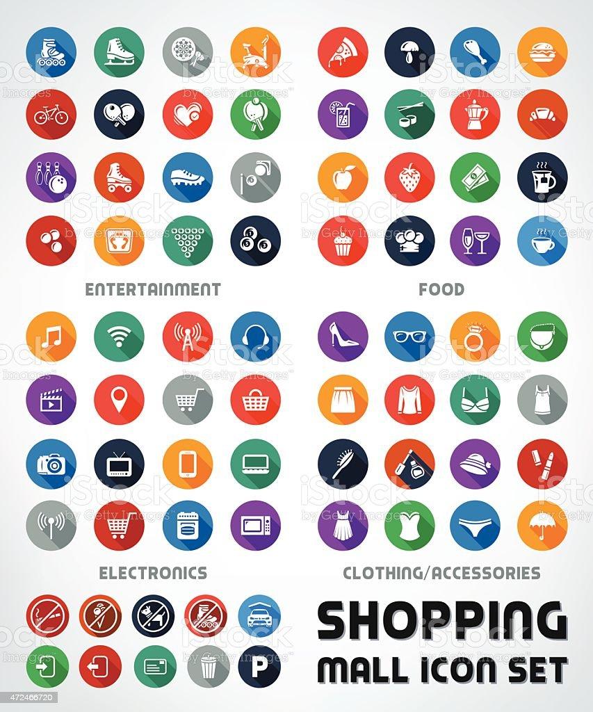 Premium Quality Mega Flat Shopping Mall Icon Set vector art illustration