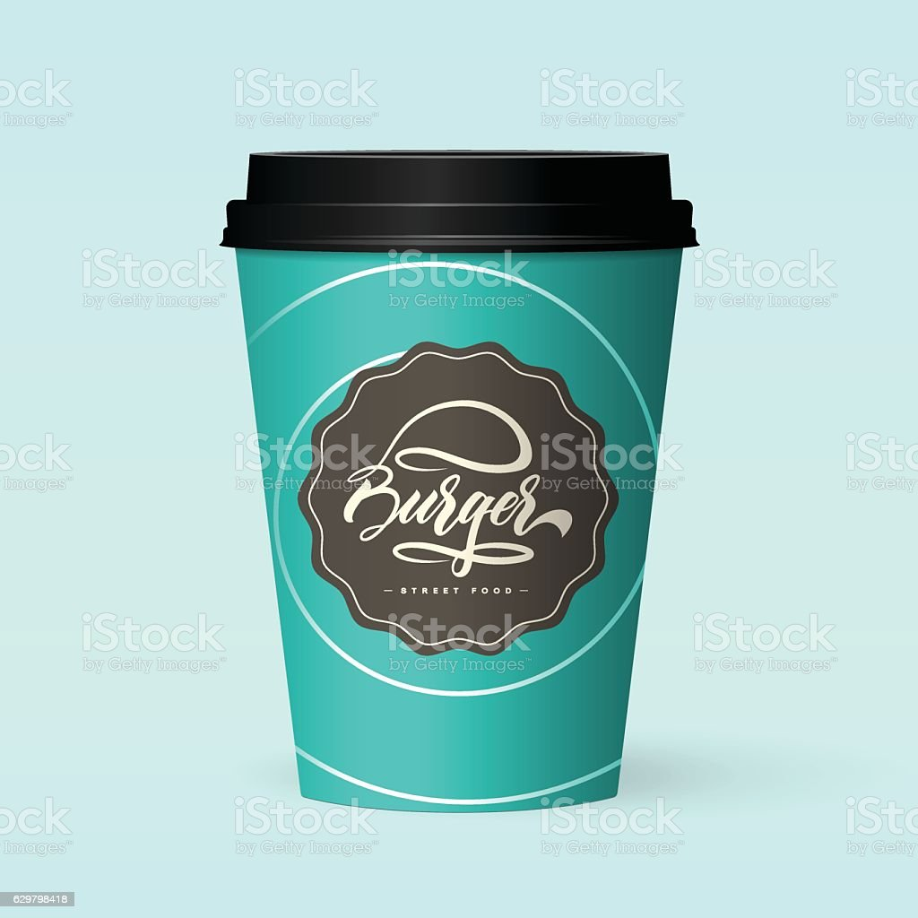 Premium quality realistic paper coffee cup vector art illustration
