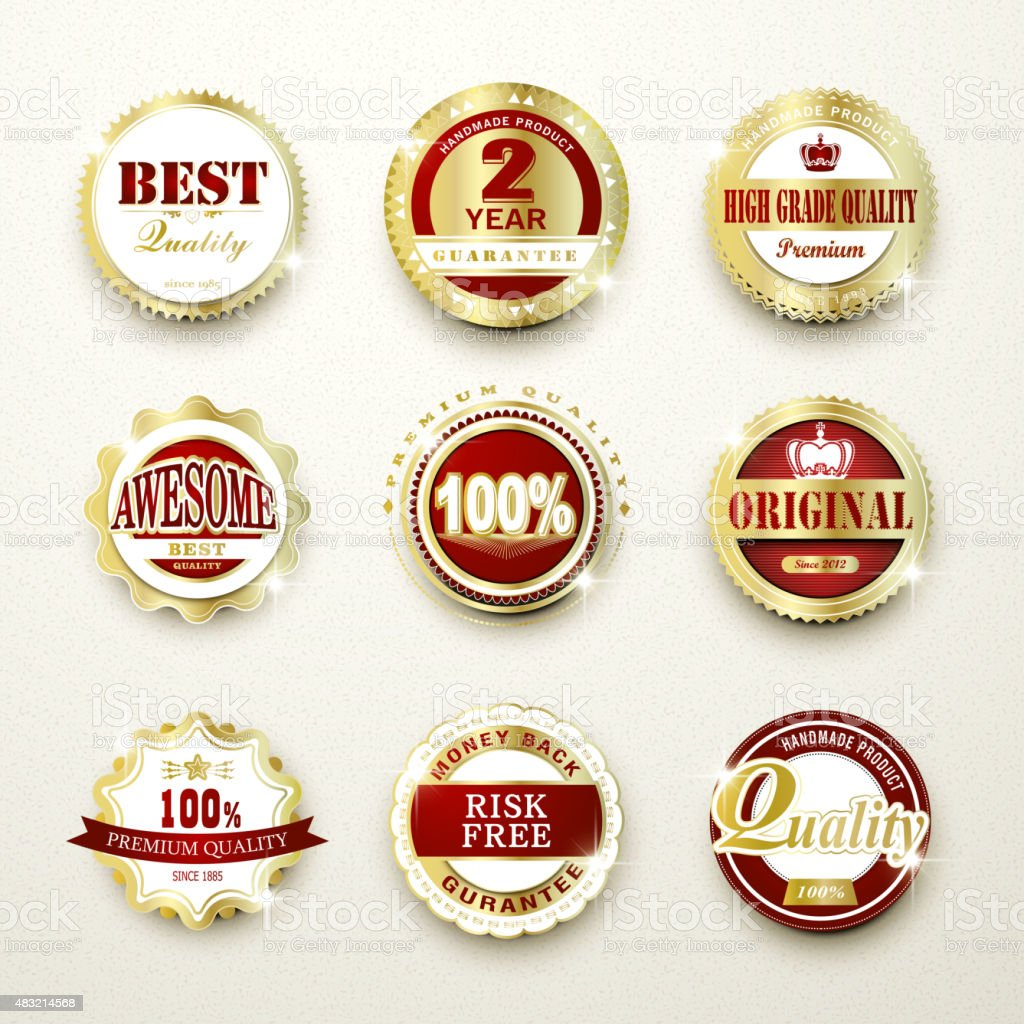premium quality sparkling golden labels collection vector art illustration