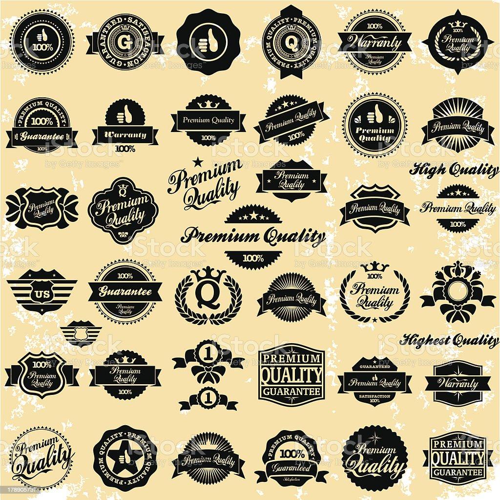 Premium Quality Vintage Labels vector art illustration