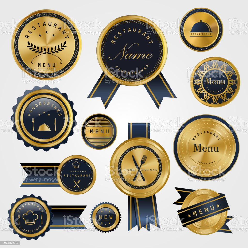 premium restaurant golden labels vector art illustration