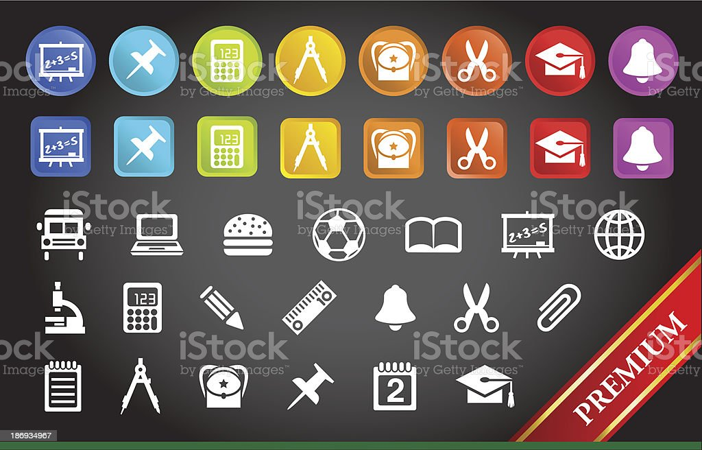 Premium School and Stationery Icons. royalty-free stock vector art