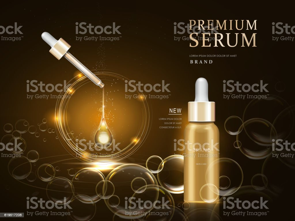 premium serum container vector art illustration