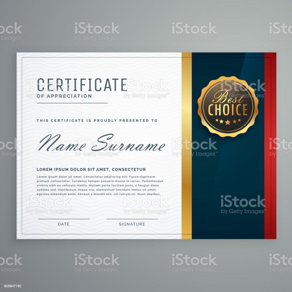 premium style modern certificate template design vector art illustration