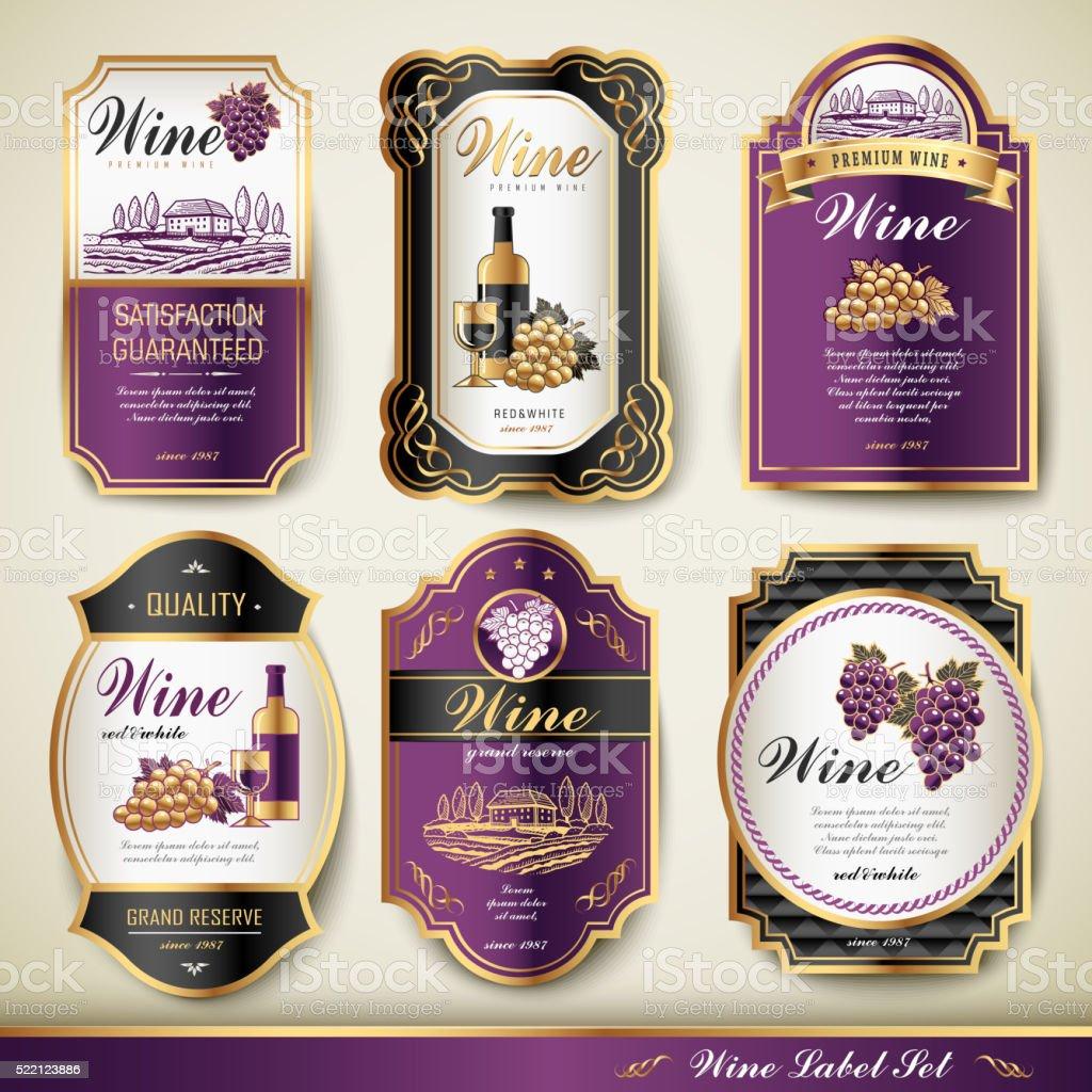 premium wine labels vector art illustration