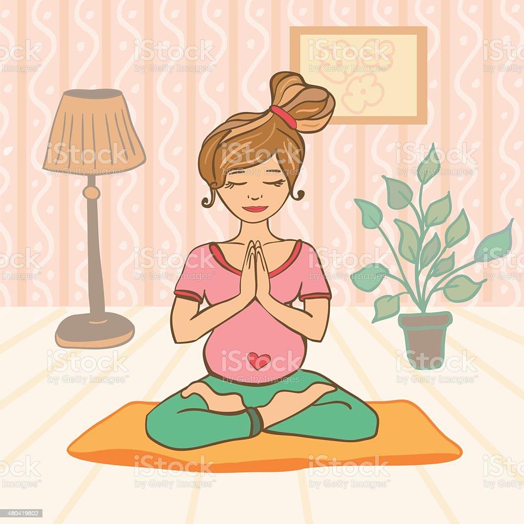 Prenatal yoga vector art illustration