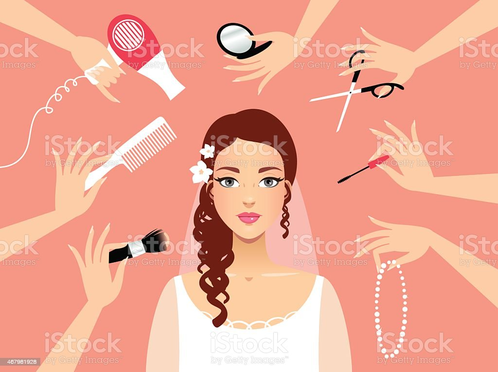 Preparation of the bride vector art illustration
