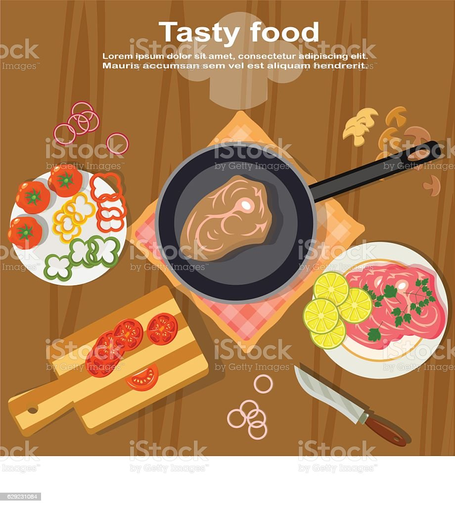 Prepare tasty food with their own hands vector art illustration
