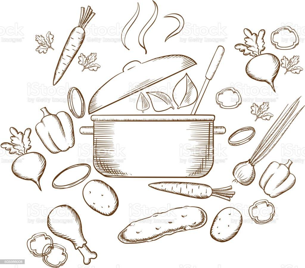 Preparing vegetable soup sketch design vector art illustration