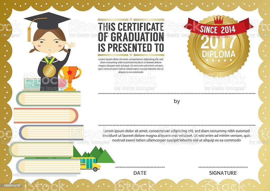 Preschool Elementary School Kids Diploma Certificate Background Design Template vector art illustration