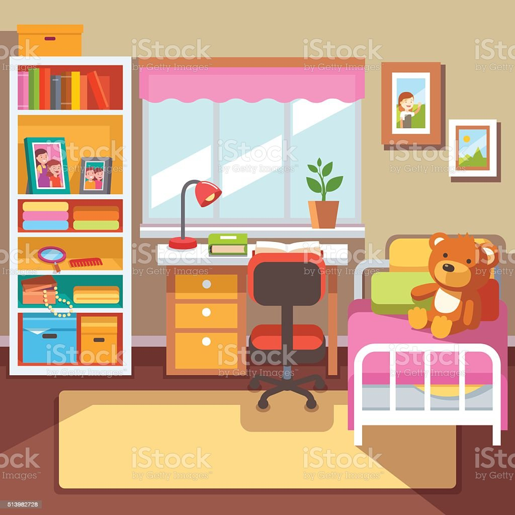 Preschool or school student girls room interior vector art illustration