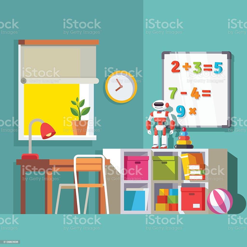 Preschool or school student kid room interior vector art illustration