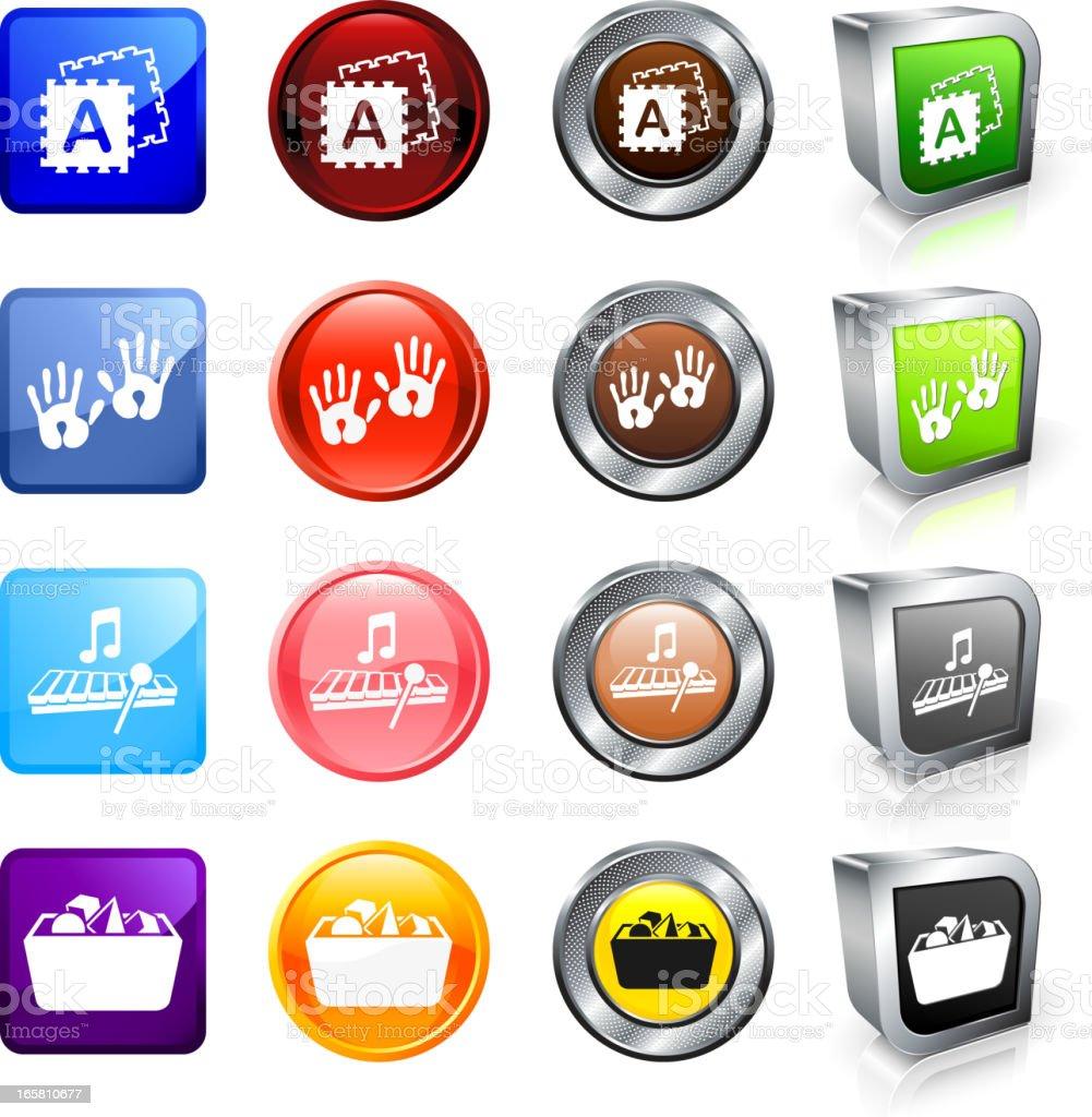 Preschool Toys royalty free vector button set royalty-free stock vector art