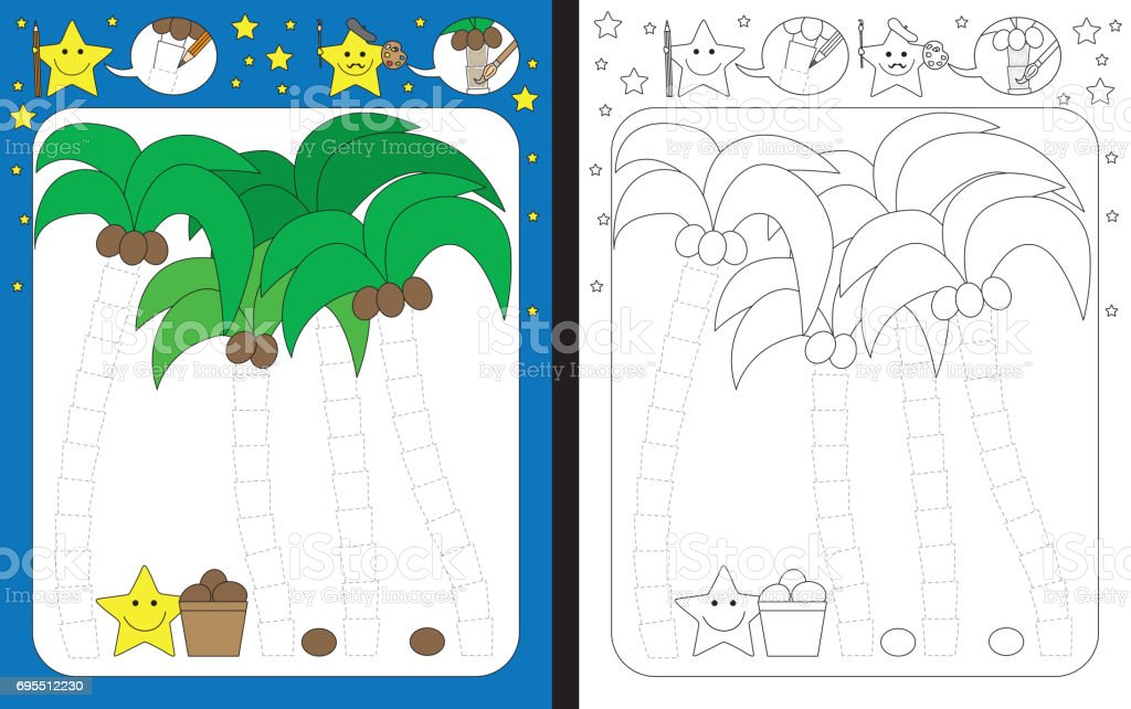Preschool worksheet vector art illustration