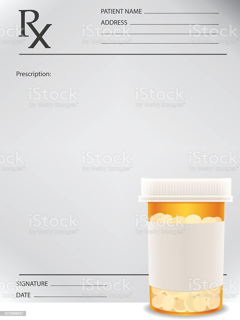 Prescription bottle and prescription vector art illustration