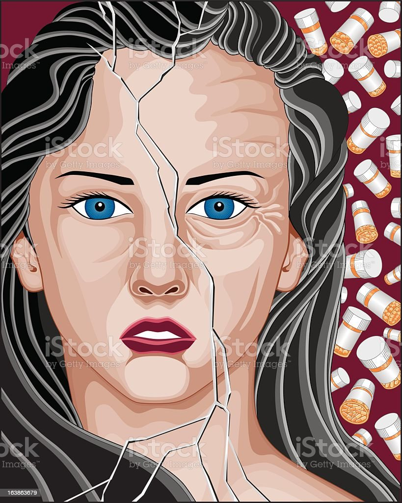 Prescription Drug Addicted Woman vector art illustration