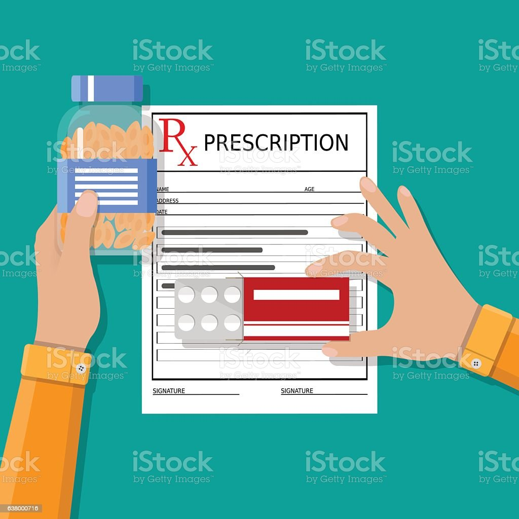 prescription. Healthcare, medical diagnostics vector art illustration