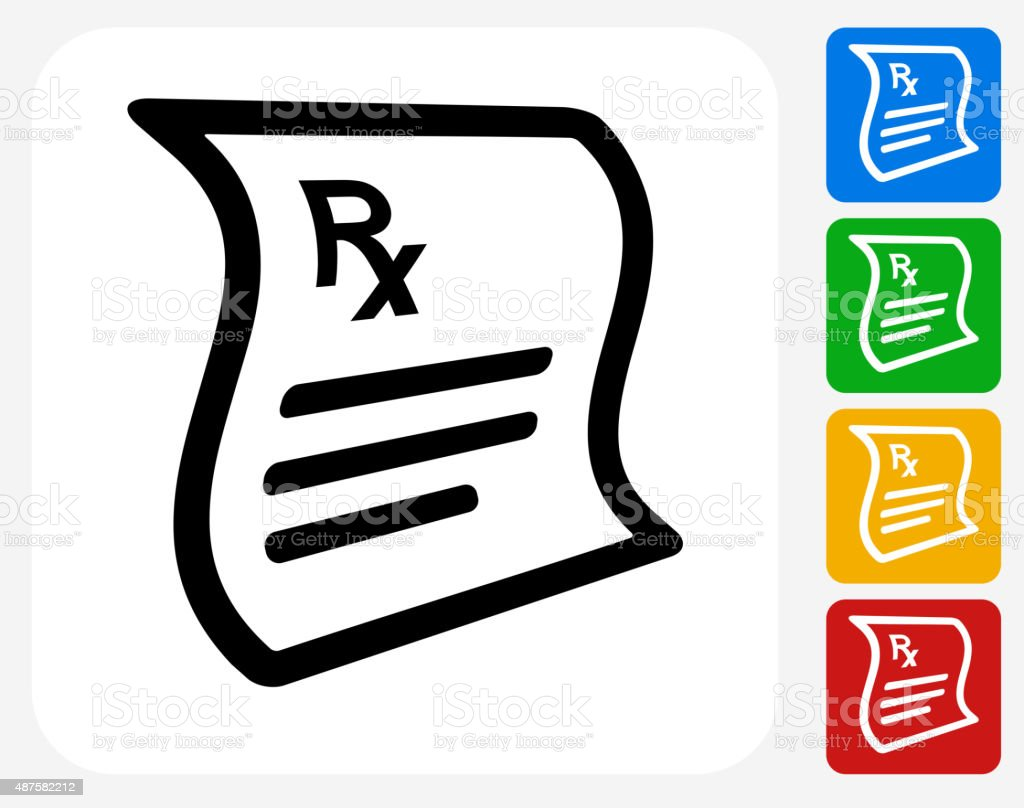 Prescription Icon Flat Graphic Design vector art illustration