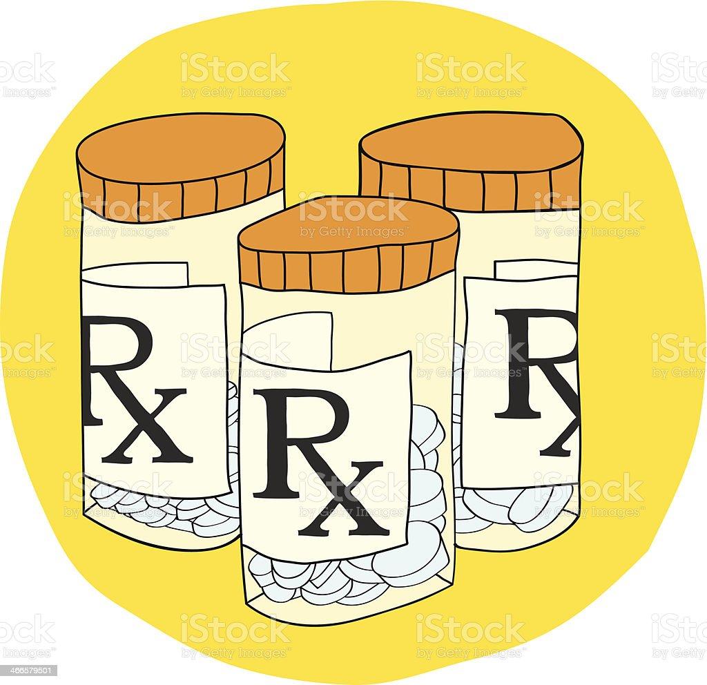 Prescription Pills Bottle vector art illustration