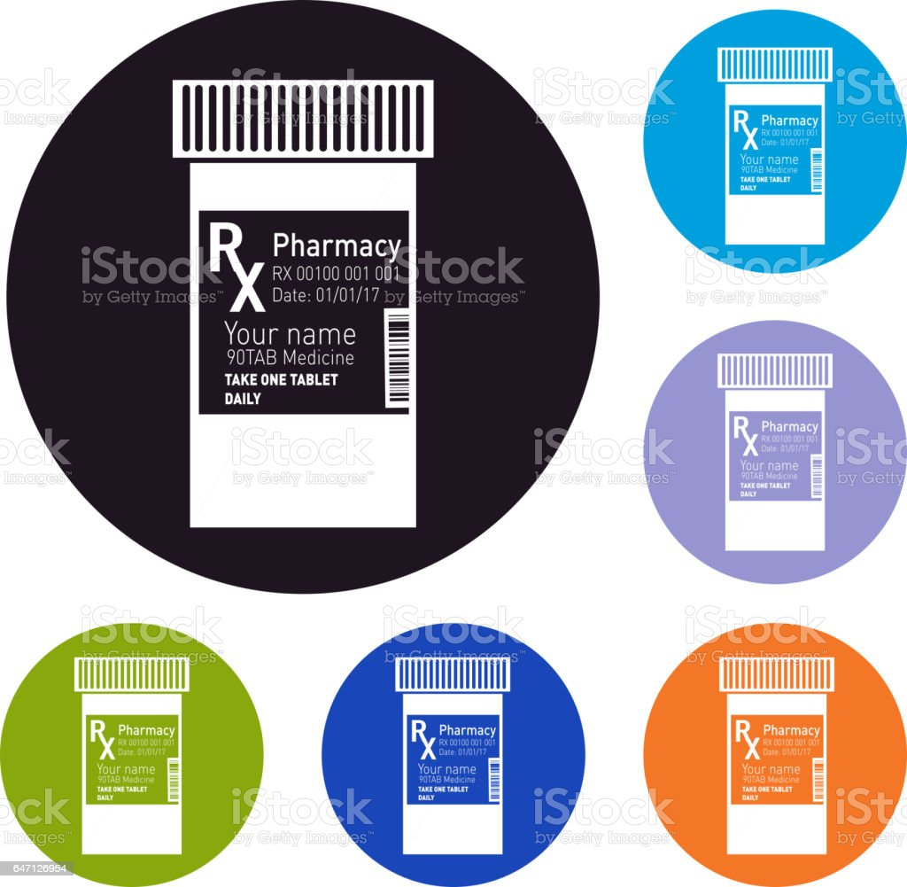 RX prescription set of icons vector art illustration