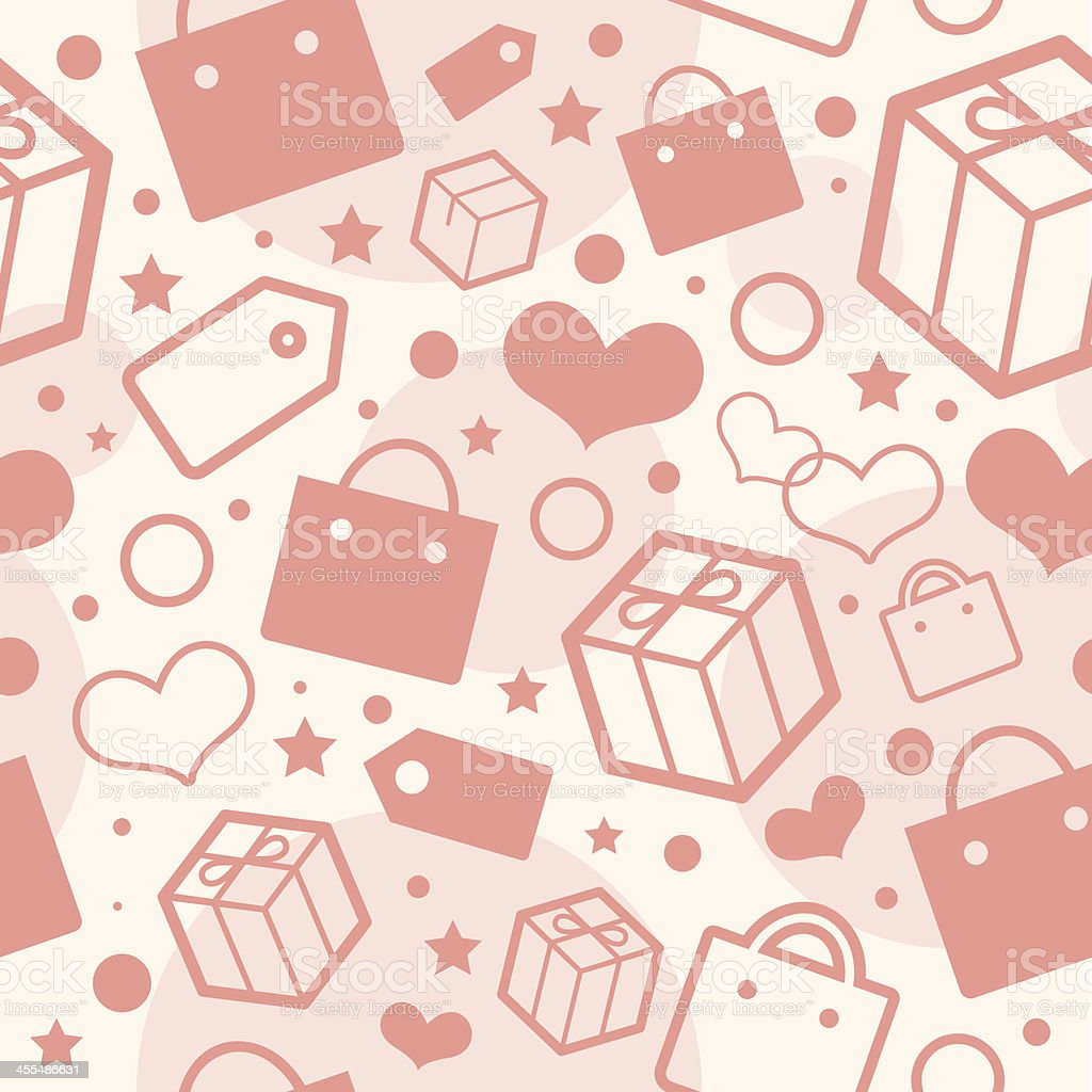 Present, heart and shopping texture royalty-free stock vector art