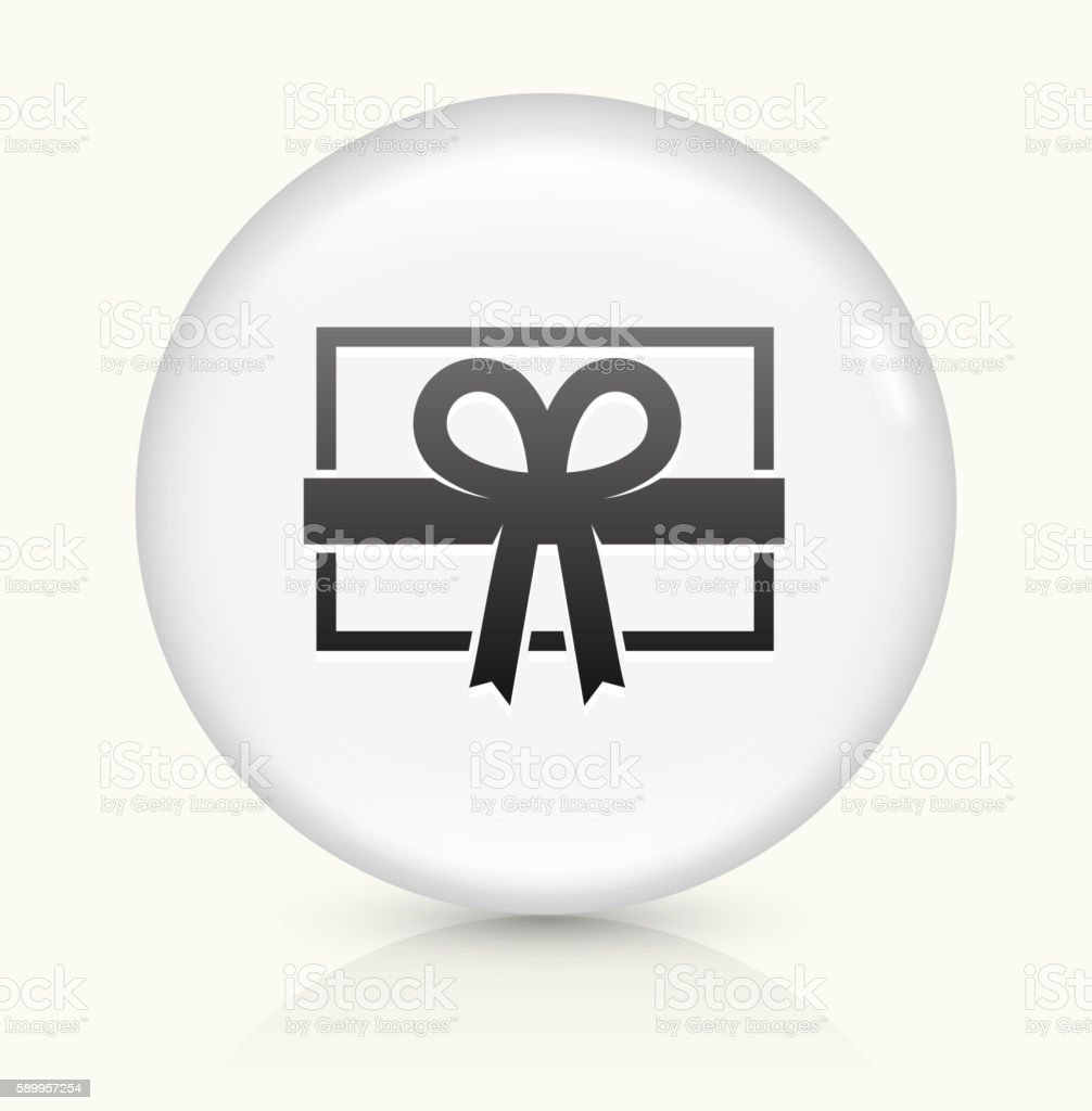 Present icon on white round vector button vector art illustration