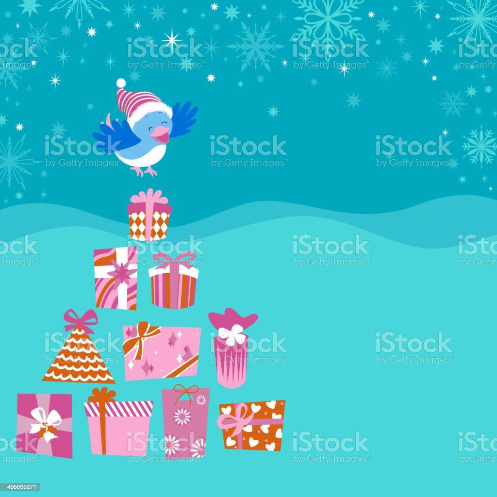 Present Tree and Bird royalty-free stock vector art