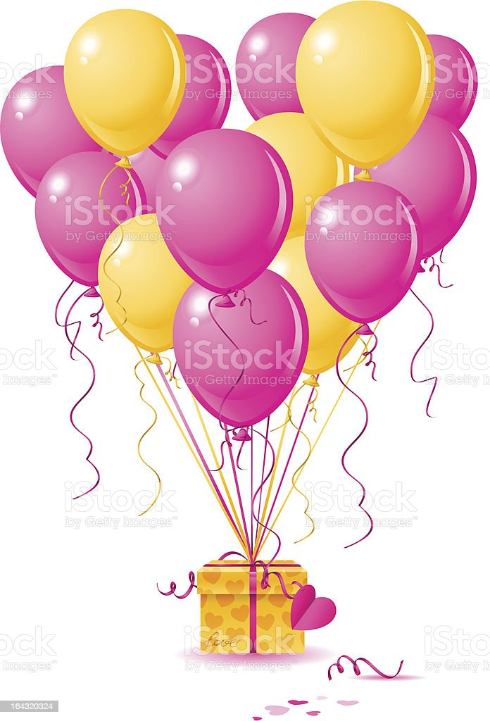 present with balloons vector art illustration