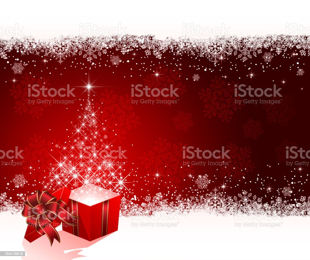 Present with Christmas tree from stars on red background royalty-free stock vector art