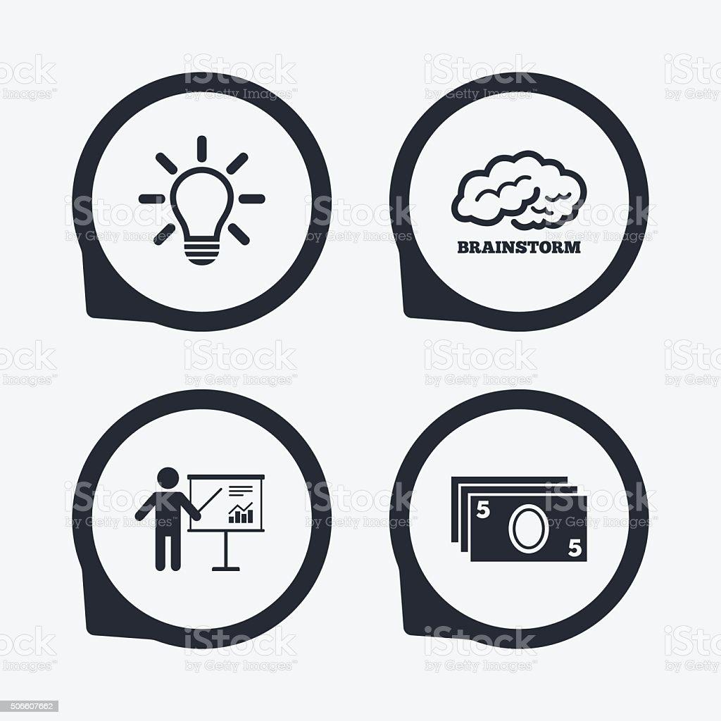 Presentation billboard, brainstorm. Cash money. vector art illustration