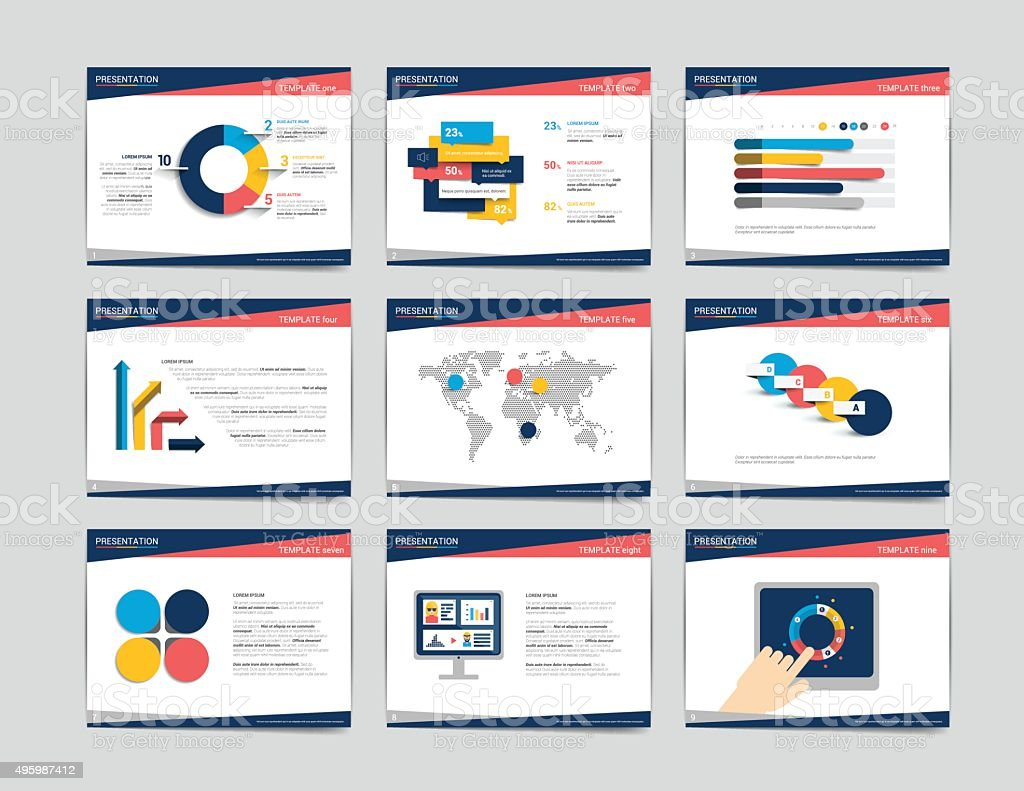 9 presentation business templates. Infographics for leaflet, poster, slide, magazine vector art illustration