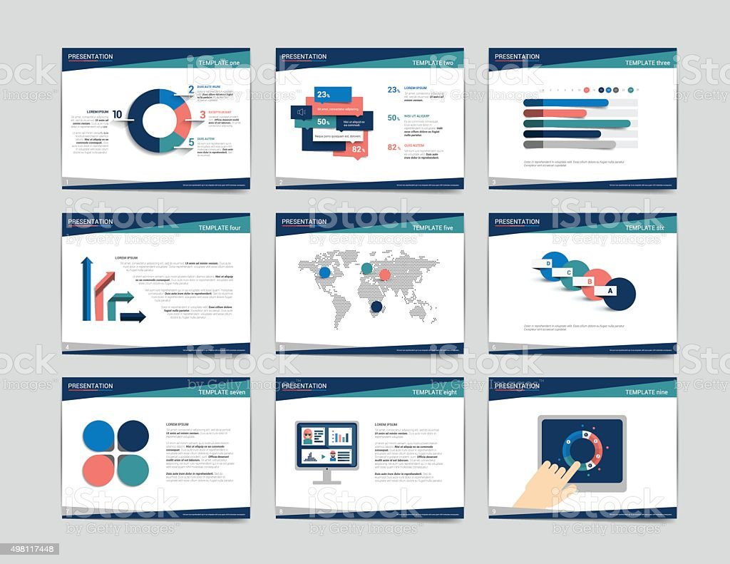 9 presentation business templates. Infographics for leaflet, poster, slide, magazine vector art illustration