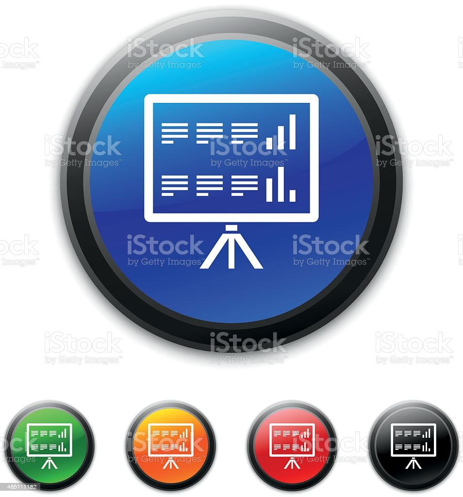 Presentation icon on round buttons. vector art illustration