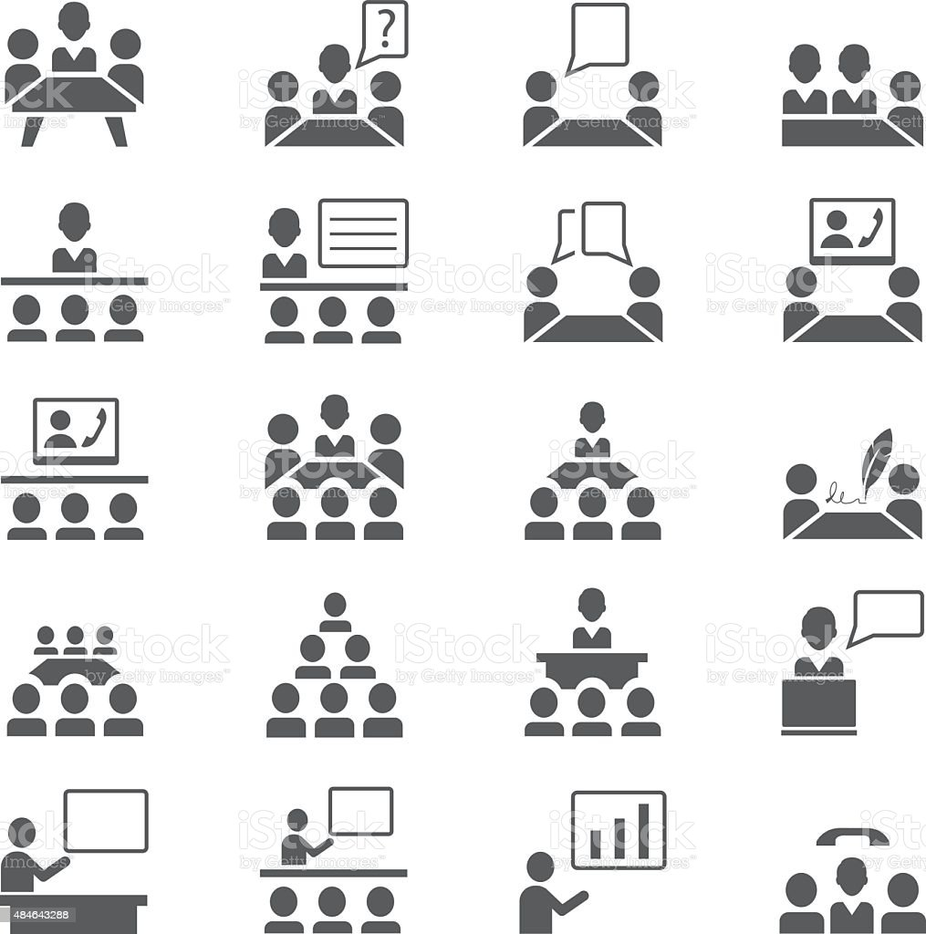 Presentation icon set vector art illustration