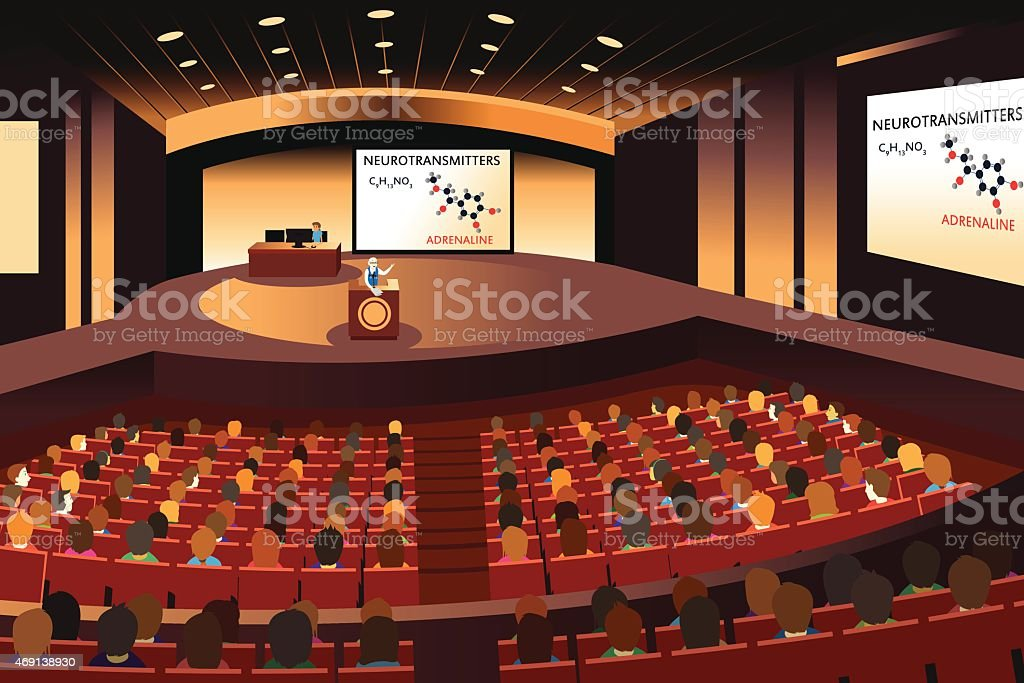 Presentation in a conference in an auditorium vector art illustration