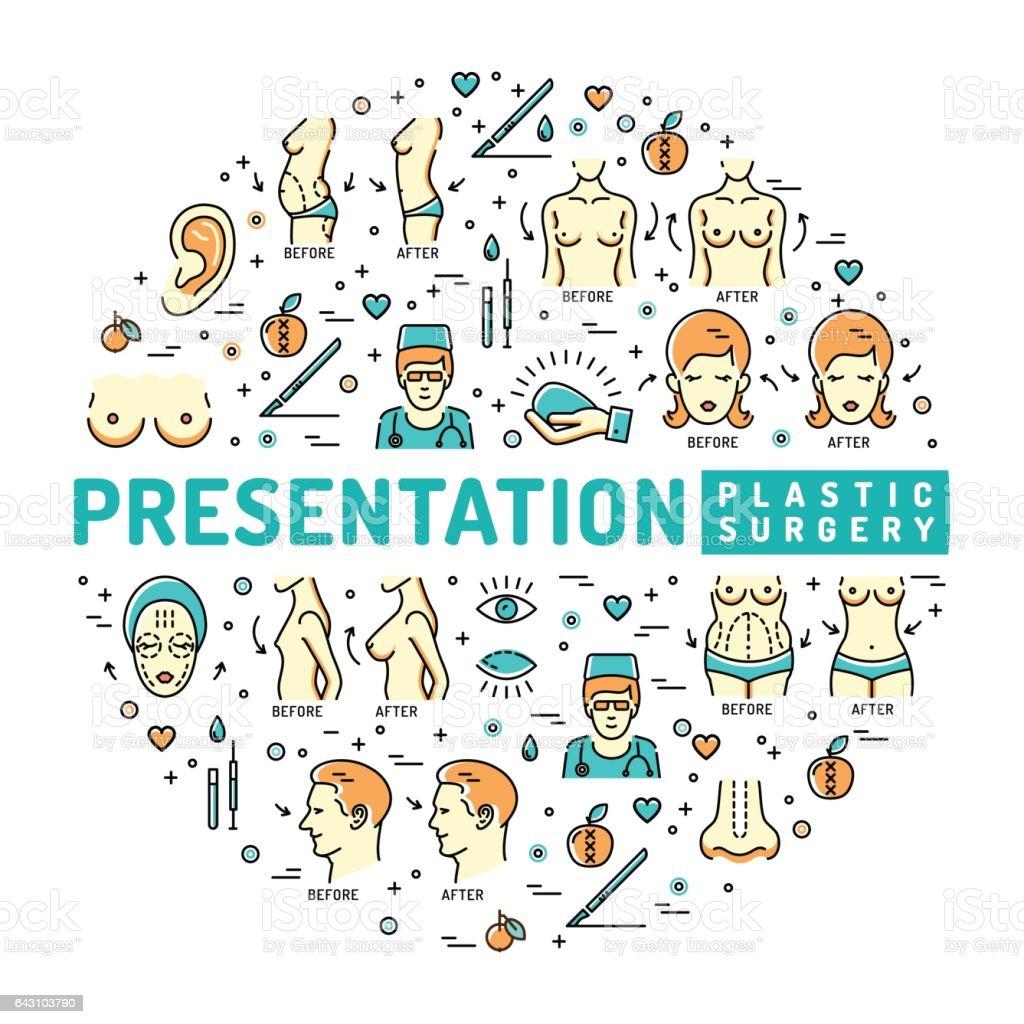 Presentation Plastic Surgery, Template medical infographic vector art illustration