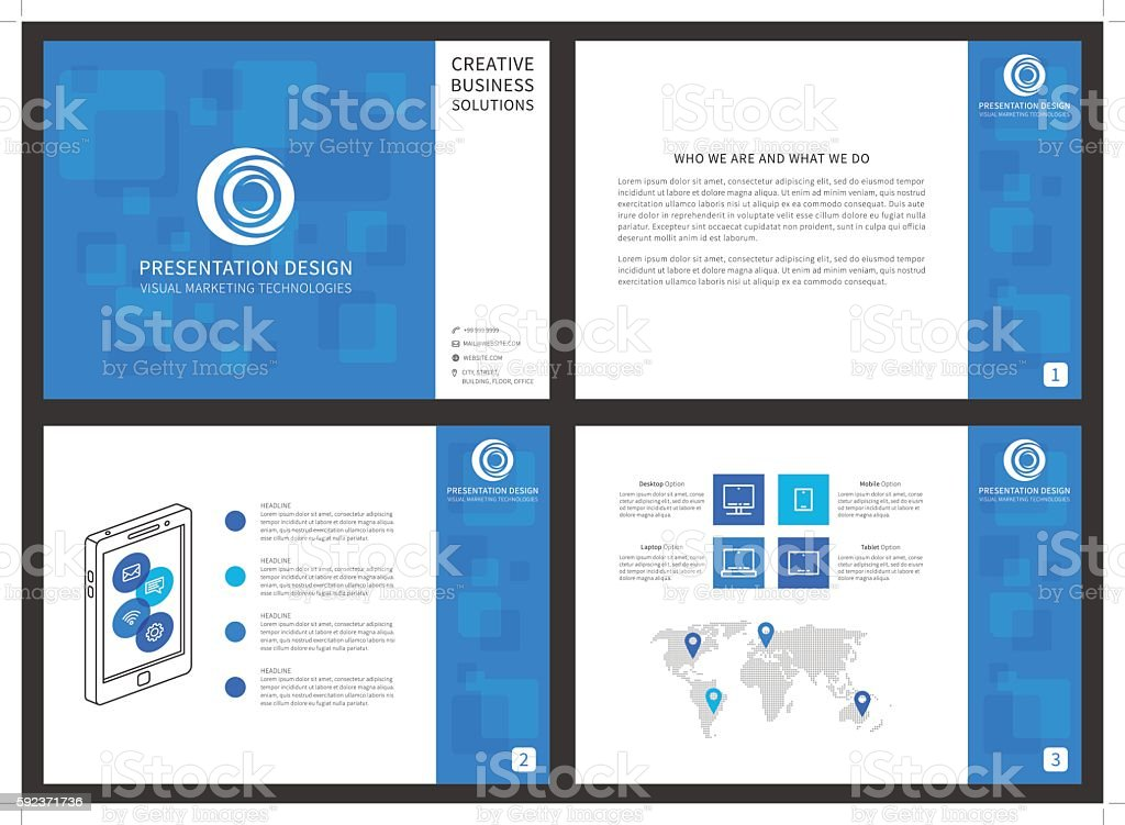 Presentation template concept blue vector art illustration