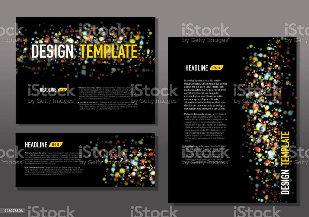 Presentation template set with sample text layout dot pattern vector art illustration