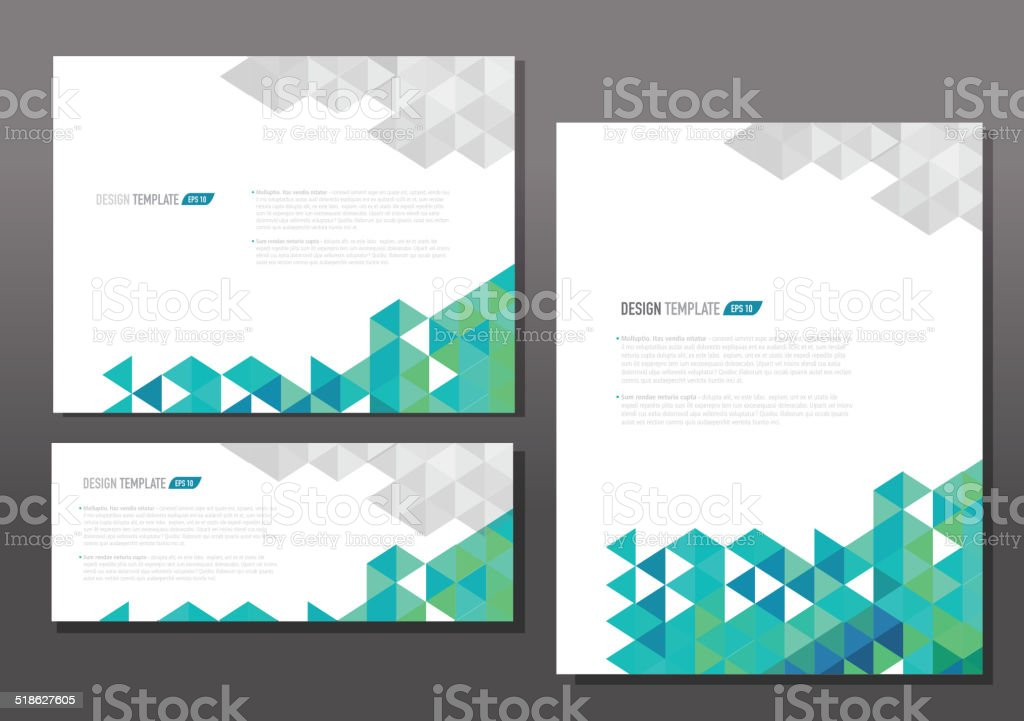 Presentation template set with sample text layout green gray vector art illustration