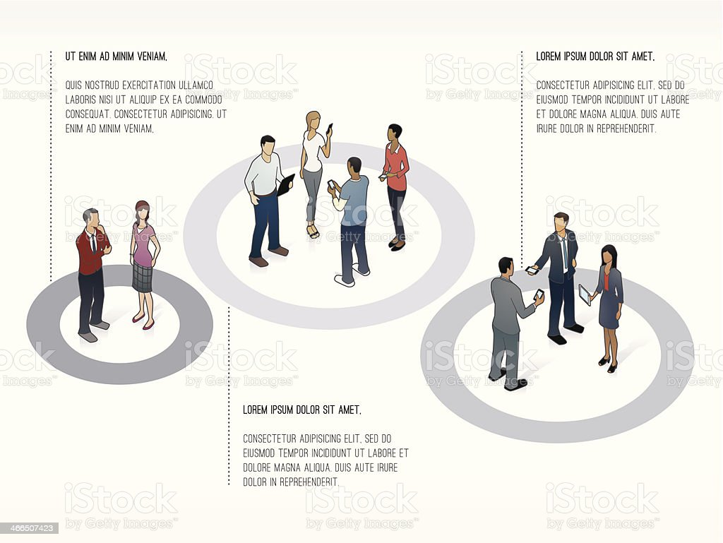 Presentation Template Showing Groups of People vector art illustration