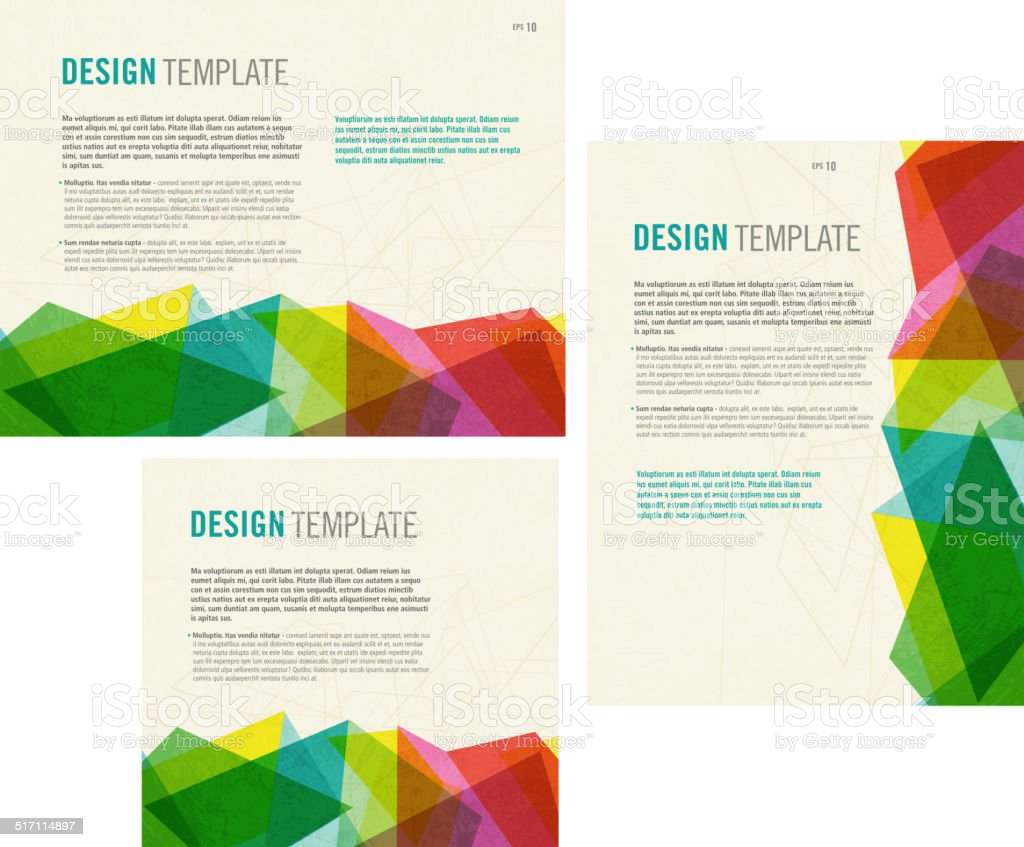 Presentation template with sample text layout two dimensional vector art illustration