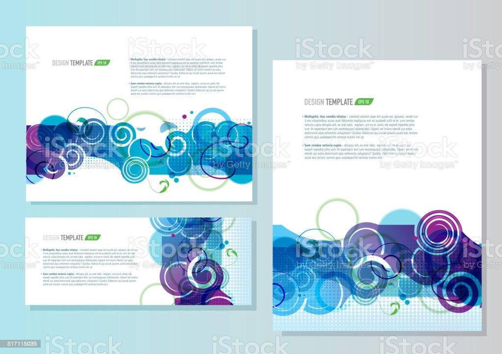 Presentation template with sample text set of three blue purple vector art illustration