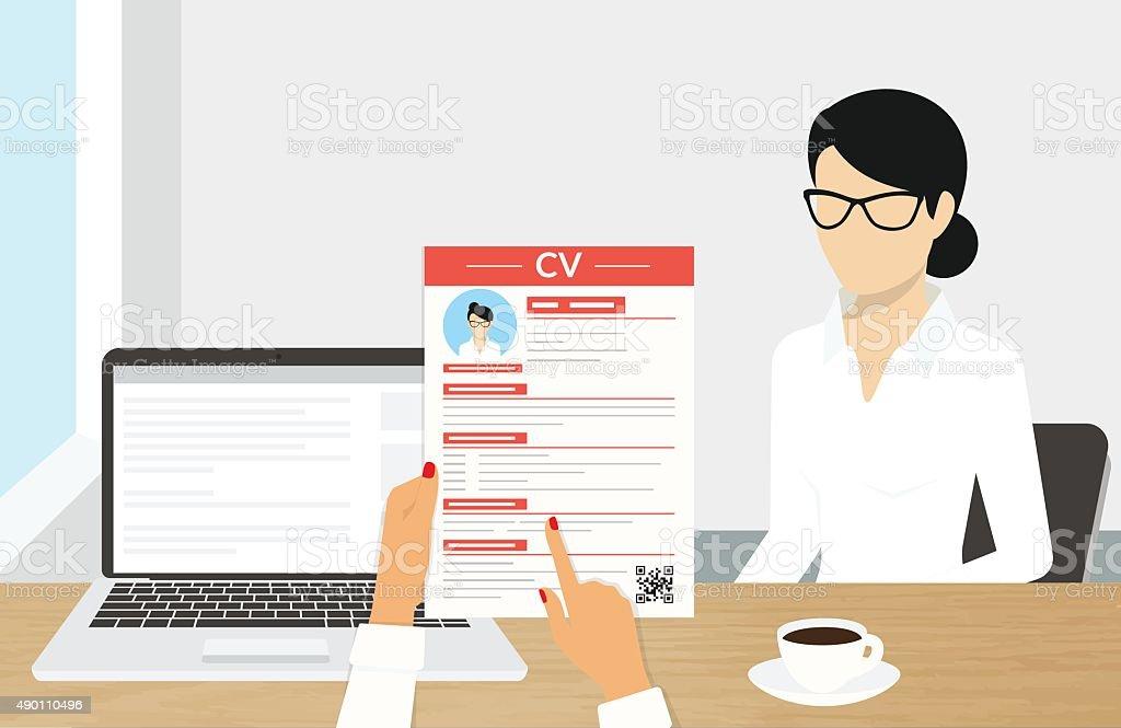 CV presentation vector art illustration