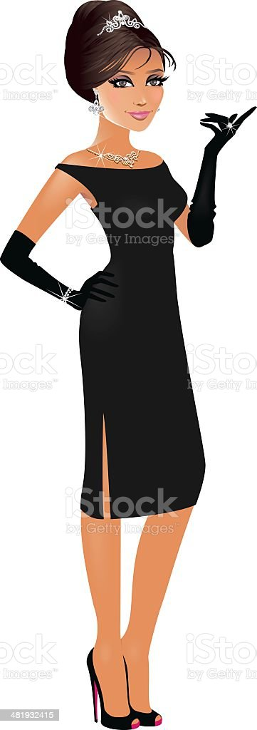 Presenting Girl vector art illustration