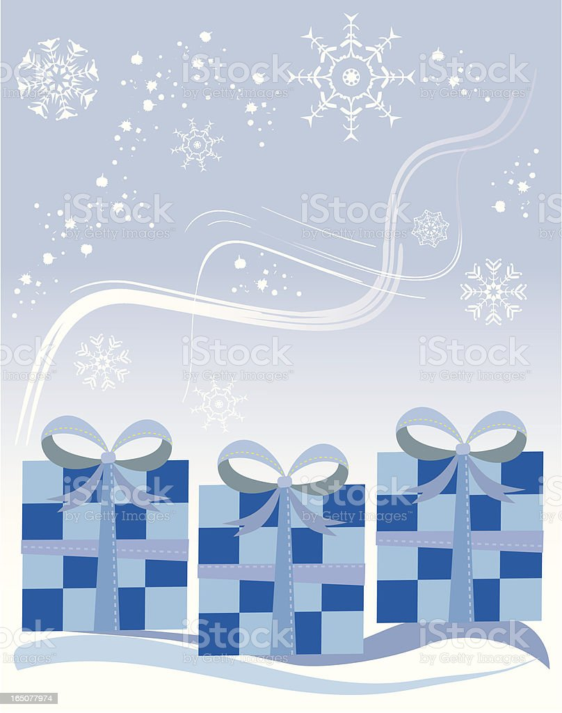 Presents in snow royalty-free stock vector art